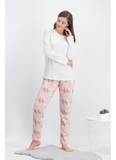 Arnetta Arnetta Leaf Cream Krem Kadın Pijama Takımı Krem